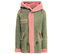 Shearling-trimmed Suede Coat Leaf Green