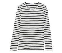 Tie Up Striped Linen-jersey Top Black