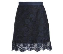 Velvet-trimmed lace mini skirt