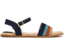 Color-block suede sandals