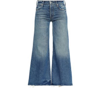 Distressed High-rise Flared Jeans Mid Denim  4