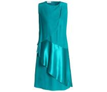 Satin-paneled draped silk-cady dress