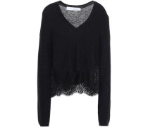 Lace-trimmed Knitted Sweater Black