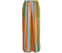 Striped linen-blend wide-leg pants