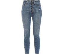 Cropped Distressed High-rise Skinny Jeans Mid Denim  4