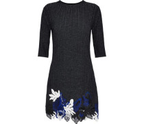 Guipure lace and ribbed wool-blend mini dress