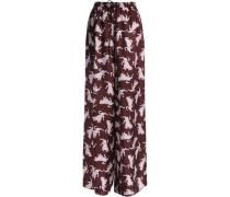 Printed silk-twill wide-leg pants