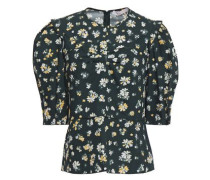 Woman Ruched Floral-print Cotton-poplin Top Dark Green