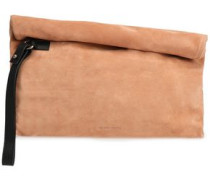 Leather-trimmed Suede Clutch Blush Size --