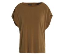 Draped cutout crepe shirt
