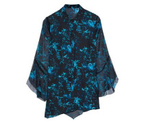 Fluted Printed Silk-chiffon Shirt Black