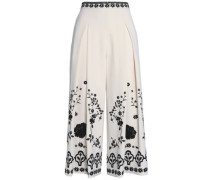 Embroidered crepe culottes