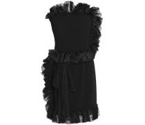 Strapless ruffle-trimmed crepe mini dress