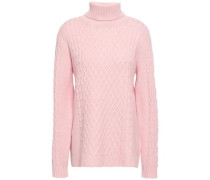 Woman Cable-knit Wool And Cashmere-blend Turtleneck Sweater Baby Pink