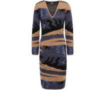 Metallic Jacquard-knit Dress Brown