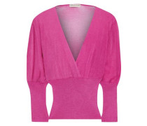 Woman Wrap-effect Metallic Crochet And Ribbed-knit Top Magenta