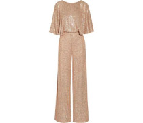 Stardust Sequined Chiffon Jumpsuit Pastel Pink Size 16