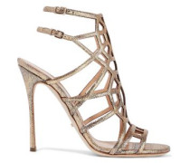 Laser-cut Glittered Metallic Textured-leather Sandals Gold