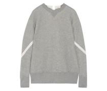 Lace-up cotton-blend sweatshirt