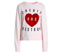 Flocked Cotton-blend Sweatshirt Pastel Pink