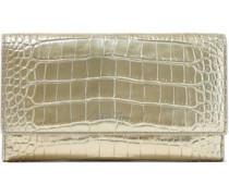 Mara Metallic Croc-effect Leather Wallet Gold Size --