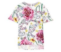 Floral-print Silk Crepe De Chine Top White