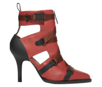 Woman Tracy Cutout Rubber And Canvas-trimmed Leather Ankle Boots Brown