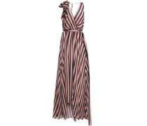 Linden Asymmetric Wrap-effect Striped Silk-chiffon Maxi Dress Black Size 12