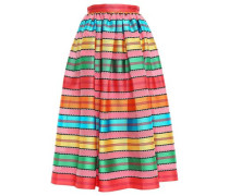 Pleated Jacquard Midi Skirt Multicolor