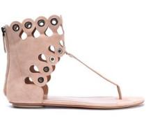 Eyelet-embellished Laser-cut Suede Sandals Blush