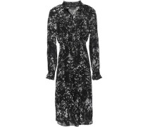 Lace-trimmed Shirred Printed Georgette Dress Black