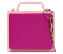Chain-trimmed Two-tone Leather And Pvc Clutch Pastel Pink Size --