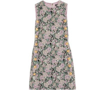 Button-embellished brocade mini dress