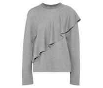 Ruffled Knitted Sweatshirt Gray