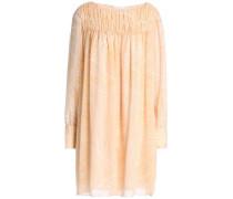 Belted printed silk-georgette dress