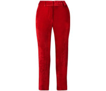 Woman Willa Cropped Silk And Cotton-blend Corduroy Straight-leg Pants Tomato Red
