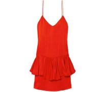 Tiered Satin-crepe Mini Dress Tomato Red