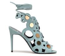 Lace-up embellished laser-cut suede sandals