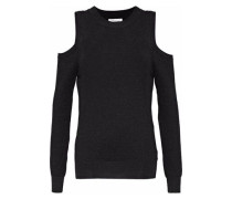 Page Cold-shoulder Metallic Waffle-knit Sweater Black