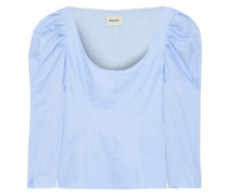 Nina Gathered Cotton-poplin Peplum Top Light Blue