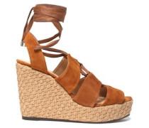 Suede Wedge Sandals Light Brown