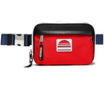 Logo-appliquéd Leather-trimmed Twill Belt Bag Red Size --