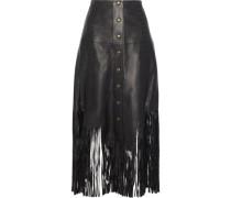 Fringe-trimmed leather midi skirt