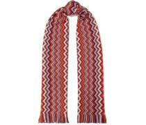 Fringed crochet wool-blend scarf