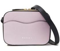 Woman Shell Color-block Leather Shoulder Bag Lilac