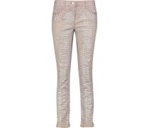 Snake-print slim-leg jeans