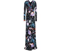 Embellished floral-print crepe gown
