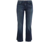 Woman Frayed Faded Mid-rise Kick-flare Jeans Dark Denim