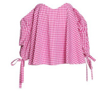 Off-the-shoulder Ruched Gingham Cotton Top Fuchsia