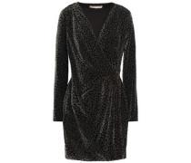 Wrap-effect Draped Printed Velvet Mini Dress Black